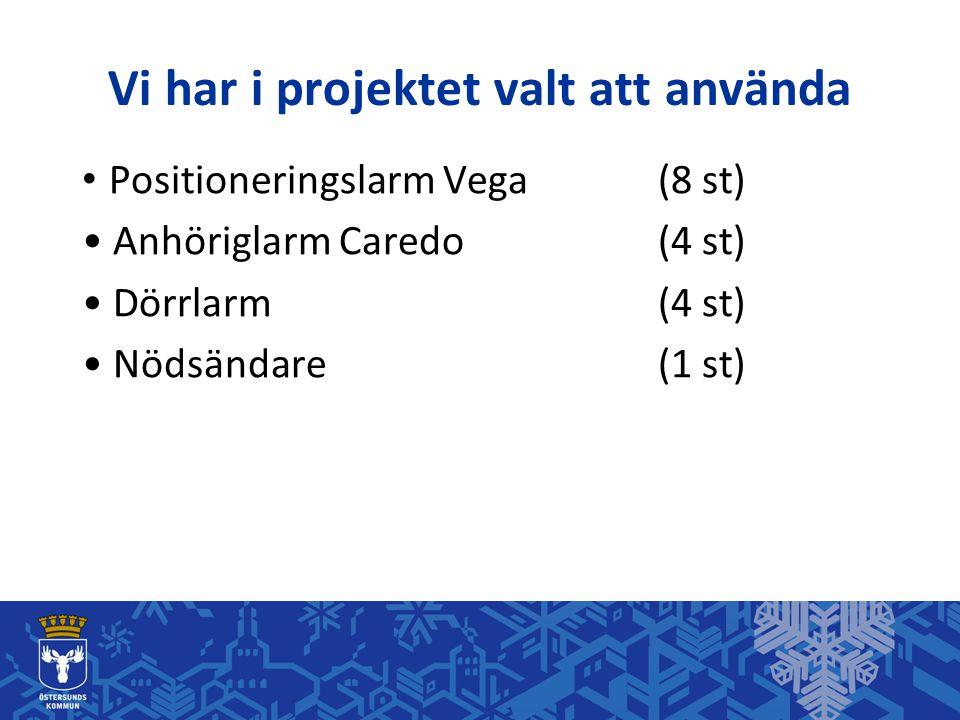 Vi har i projektet valt att använda • Positioneringslarm Vega (8 st) • Anhöriglarm Caredo(4 st) • Dörrlarm(4 st) • Nödsändare(1 st)