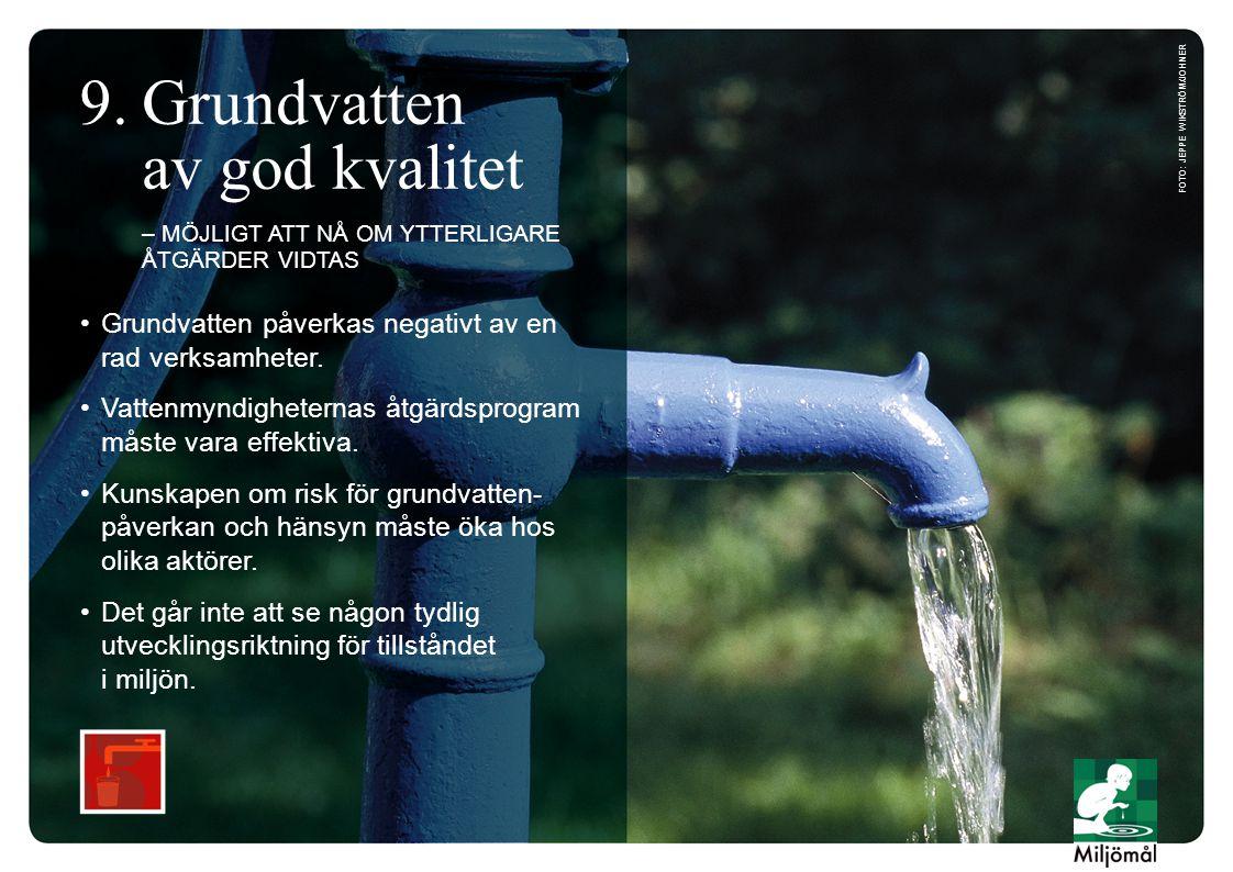 •Grundvatten påverkas negativt av en rad verksamheter.
