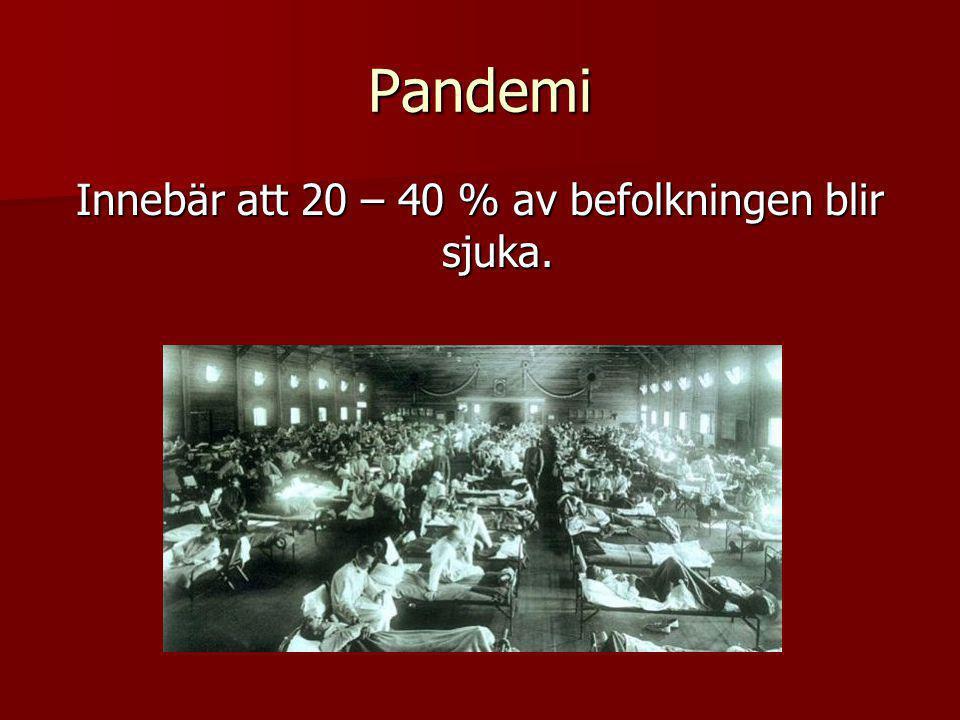 Pandemi Innebär att 20 – 40 % av befolkningen blir sjuka.