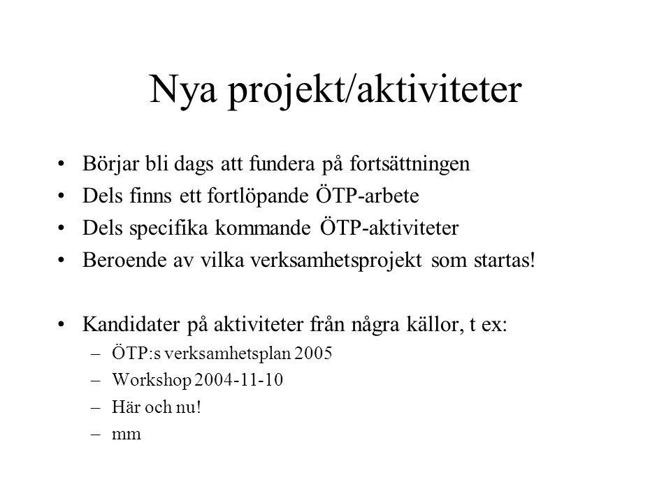 Nya projekt/aktiviteter •Börjar bli dags att fundera på fortsättningen •Dels finns ett fortlöpande ÖTP-arbete •Dels specifika kommande ÖTP-aktiviteter
