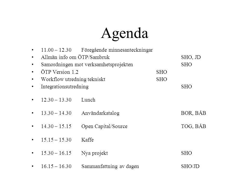 Agenda •11.00 – 12.30Föregående minnesanteckningar •Allmän info om ÖTP/SambrukSHO, JD •Samordningen mot verksamhetsprojektenSHO •ÖTP Version 1.2SHO •W