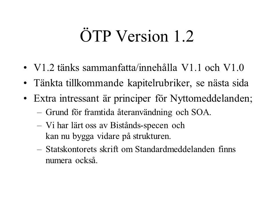 ÖTP Version 1.2 •V1.2 tänks sammanfatta/innehålla V1.1 och V1.0 •Tänkta tillkommande kapitelrubriker, se nästa sida •Extra intressant är principer för