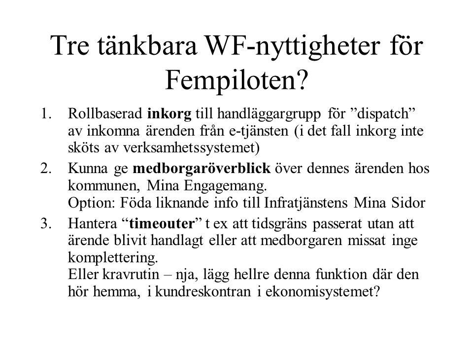 """Tre tänkbara WF-nyttigheter för Fempiloten? 1.Rollbaserad inkorg till handläggargrupp för """"dispatch"""" av inkomna ärenden från e-tjänsten (i det fall in"""