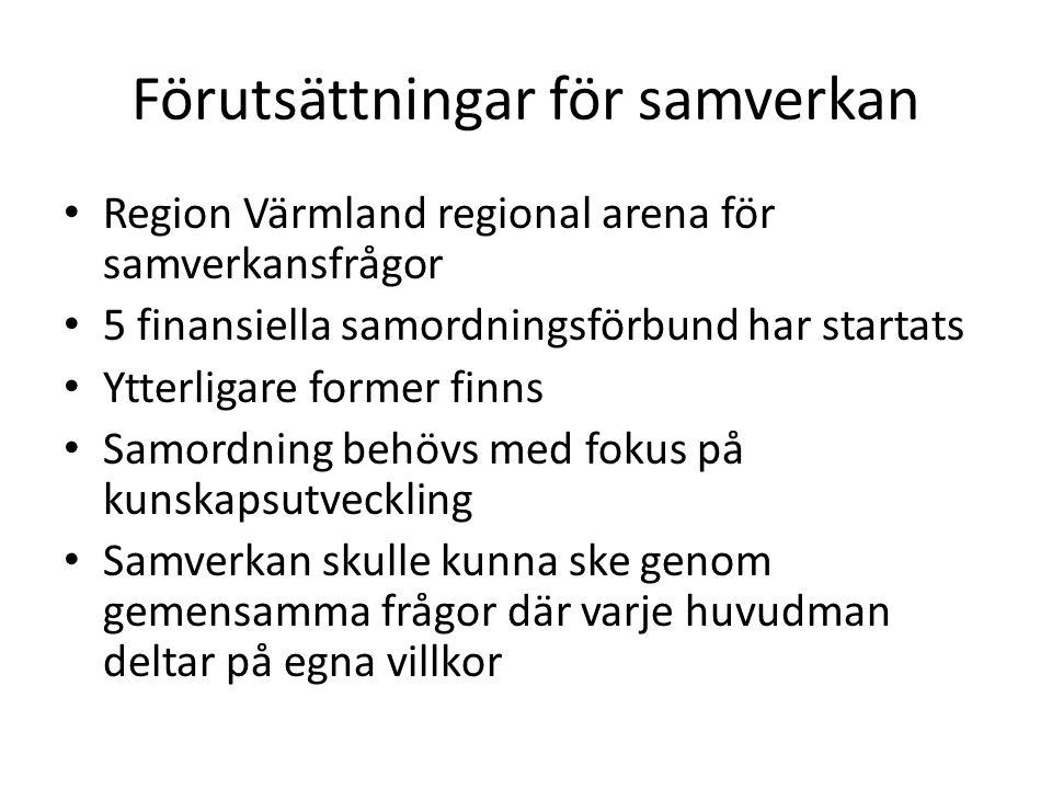 Förutsättningar för samverkan • Region Värmland regional arena för samverkansfrågor • 5 finansiella samordningsförbund har startats • Ytterligare form