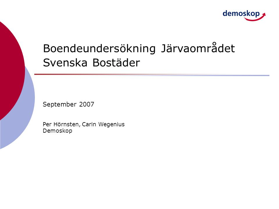 Boendeundersökning Järvaområdet Svenska Bostäder September 2007 Per Hörnsten, Carin Wegenius Demoskop
