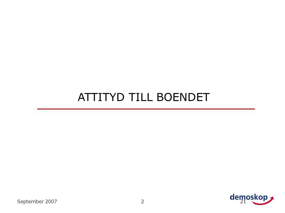 September 2007221 ATTITYD TILL BOENDET