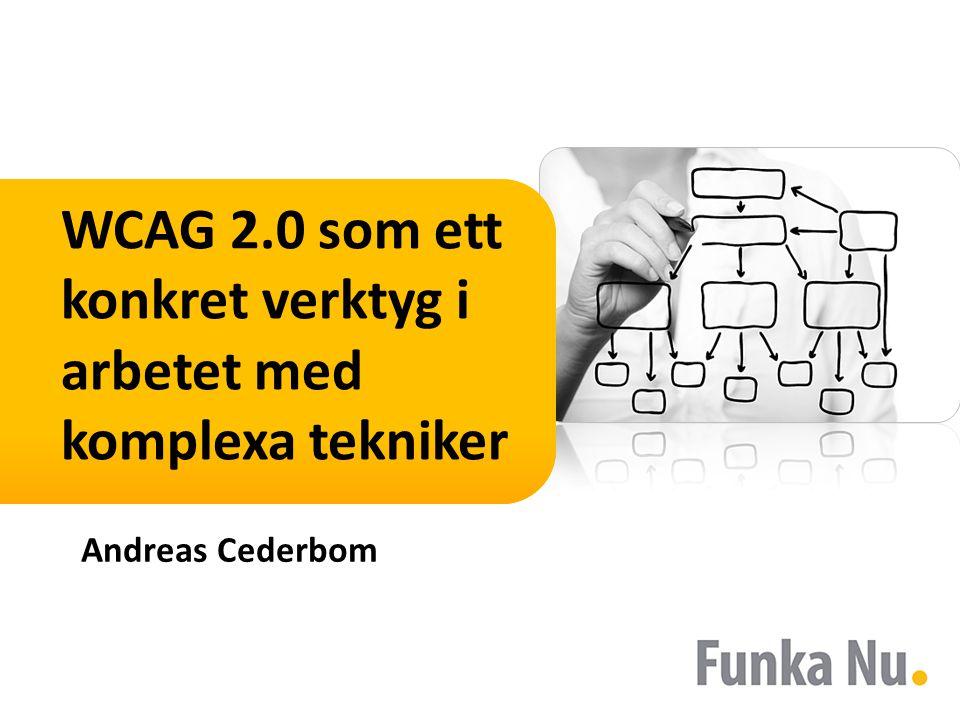 WCAG 2.0 som ett konkret verktyg i arbetet med komplexa tekniker Andreas Cederbom