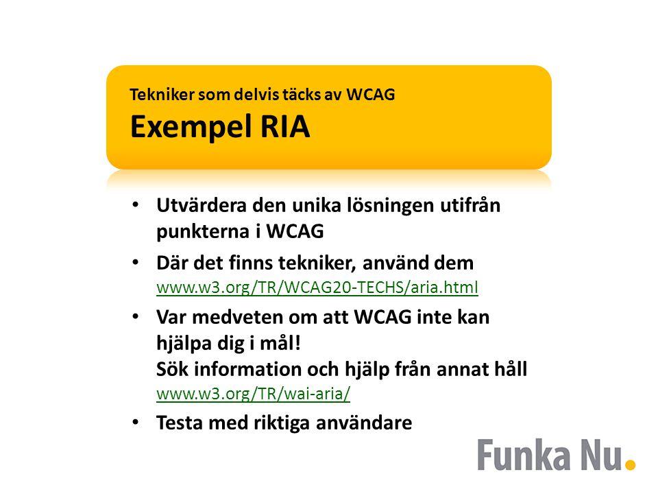 Exempel RIA • Situation: Uppdatering i sidan: www.sj.se www.sj.se • Steg 1: Vad säger WCAG.