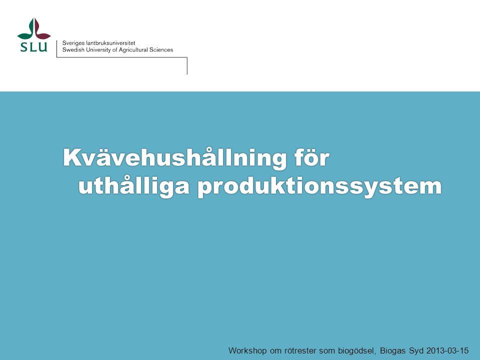 Kvävehushållning för i uthålliga produktionssystem Workshop om rötrester som biogödsel, Biogas Syd 2013-03-15