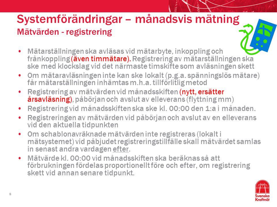 19 Systemförändringar – månadsvis mätning Information www.elmarknadshandboken.se www.svk.se www.ediel.se