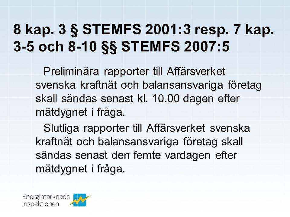 8 kap.3 § STEMFS 2001:3 resp. 7 kap.