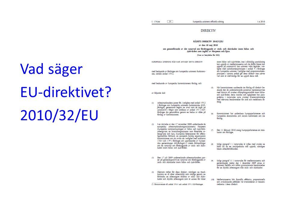 Vad säger EU-direktivet? 2010/32/EU