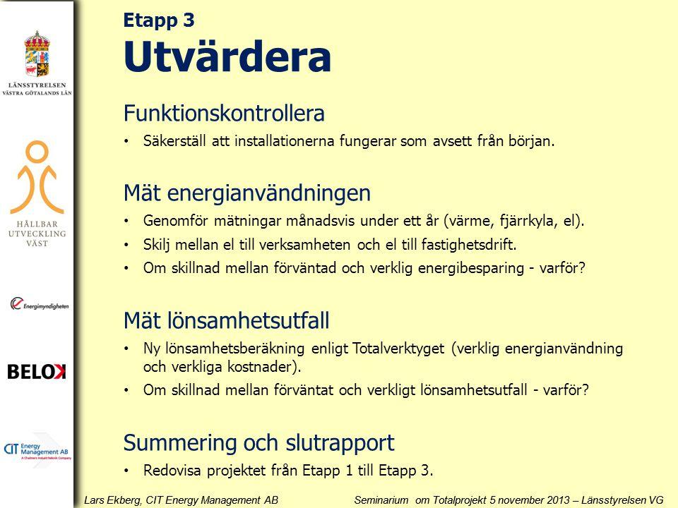 Lars Ekberg, CIT Energy Management AB Seminarium om Totalprojekt 5 november 2013 – Länsstyrelsen VG Funktionskontrollera • Säkerställ att installation