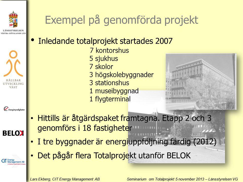 Lars Ekberg, CIT Energy Management AB Seminarium om Totalprojekt 5 november 2013 – Länsstyrelsen VG • Inledande totalprojekt startades 2007 7 kontorsh