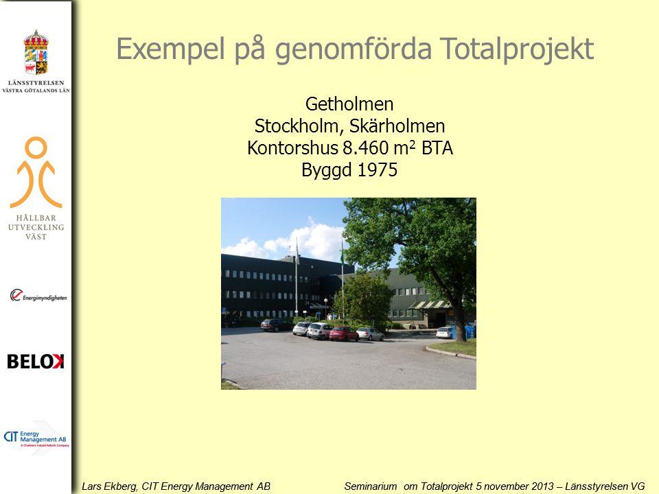 Lars Ekberg, CIT Energy Management AB Seminarium om Totalprojekt 5 november 2013 – Länsstyrelsen VG Getholmen Stockholm, Skärholmen Kontorshus 8.460 m