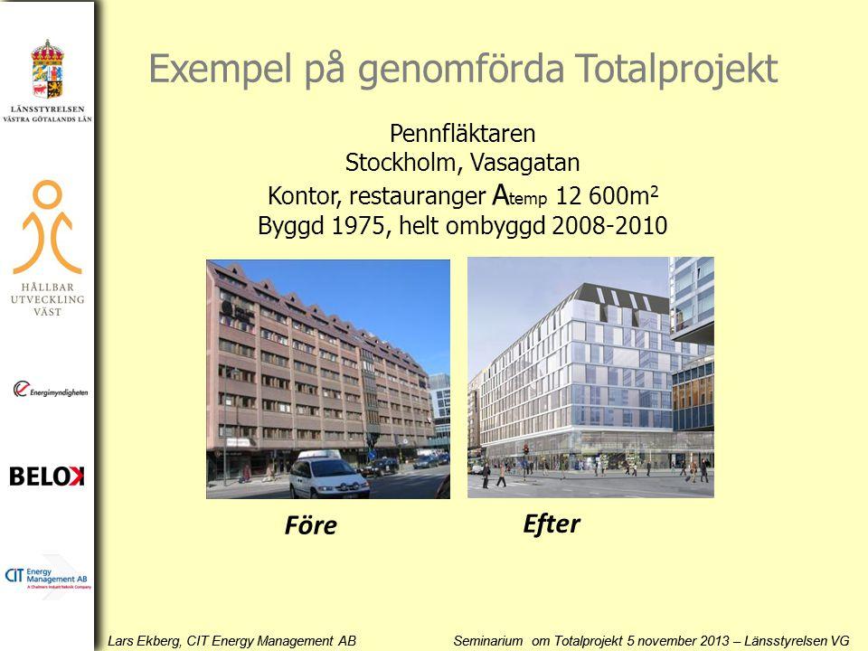 Lars Ekberg, CIT Energy Management AB Seminarium om Totalprojekt 5 november 2013 – Länsstyrelsen VG Pennfläktaren Stockholm, Vasagatan Kontor, restaur