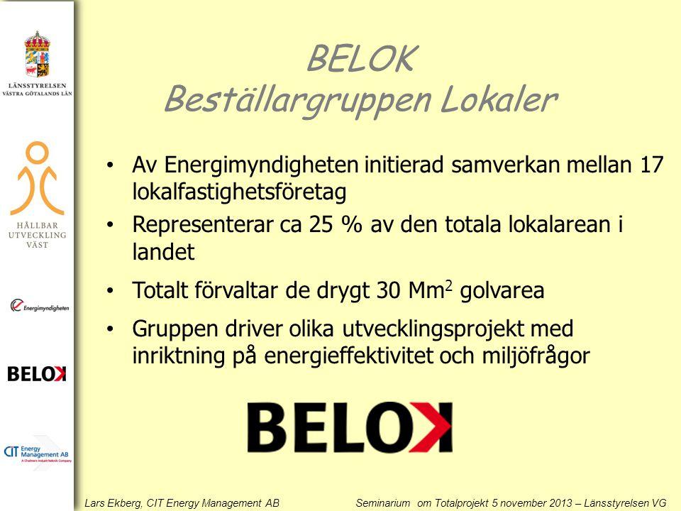 BELOK Beställargruppen Lokaler • Av Energimyndigheten initierad samverkan mellan 17 lokalfastighetsföretag • Representerar ca 25 % av den totala lokal