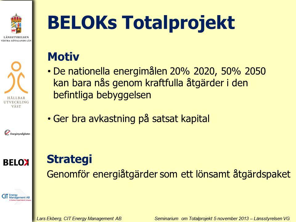 Lars Ekberg, CIT Energy Management AB Seminarium om Totalprojekt 5 november 2013 – Länsstyrelsen VG BELOKs Totalprojekt Motiv • De nationella energimå