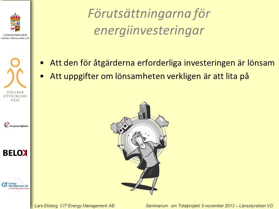 Lars Ekberg, CIT Energy Management AB Seminarium om Totalprojekt 5 november 2013 – Länsstyrelsen VG Förutsättningarna för energiinvesteringar •Att den