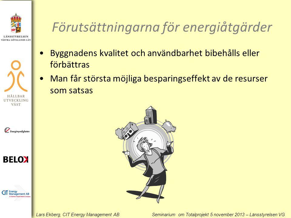 Lars Ekberg, CIT Energy Management AB Seminarium om Totalprojekt 5 november 2013 – Länsstyrelsen VG Förutsättningarna för energiåtgärder •Byggnadens k