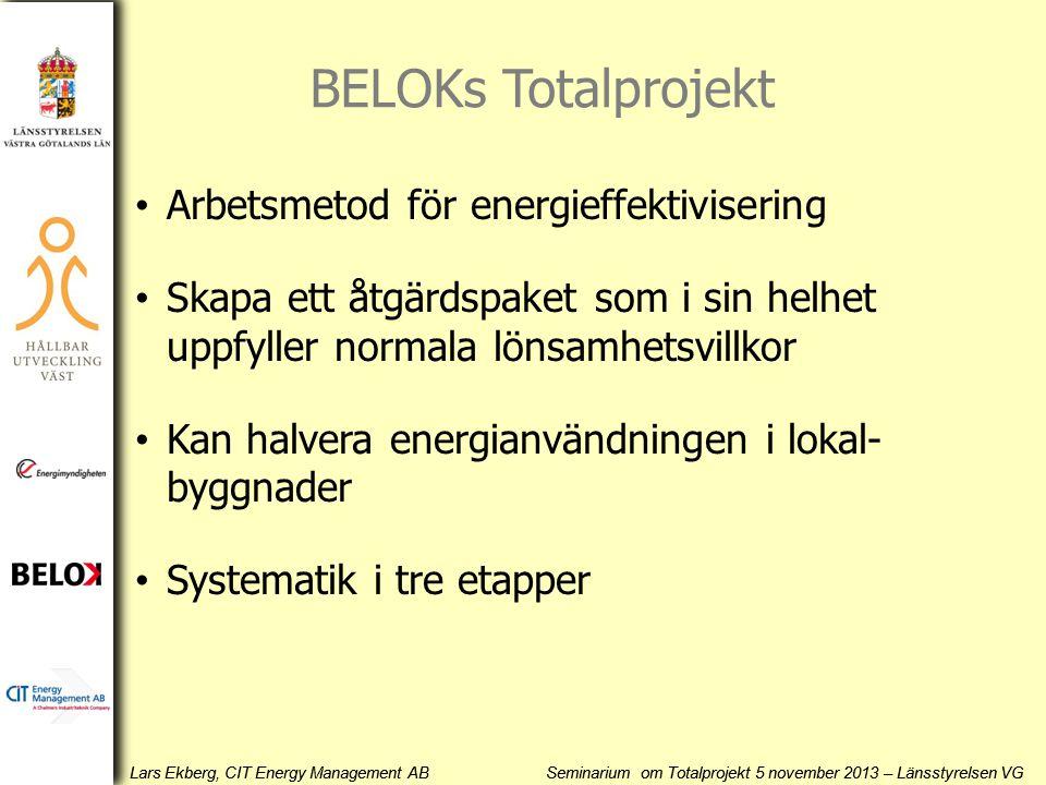 Lars Ekberg, CIT Energy Management AB Seminarium om Totalprojekt 5 november 2013 – Länsstyrelsen VG BELOKs Totalprojekt • Arbetsmetod för energieffekt