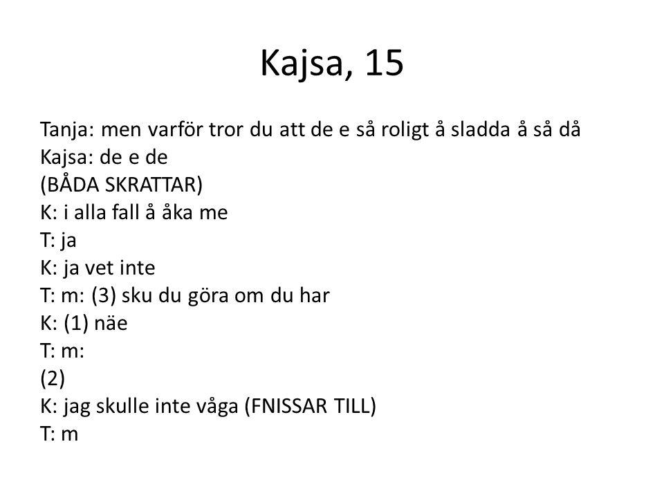 Kajsa, 15 Tanja: men varför tror du att de e så roligt å sladda å så då Kajsa: de e de (BÅDA SKRATTAR) K: i alla fall å åka me T: ja K: ja vet inte T: m: (3) sku du göra om du har K: (1) näe T: m: (2) K: jag skulle inte våga (FNISSAR TILL) T: m