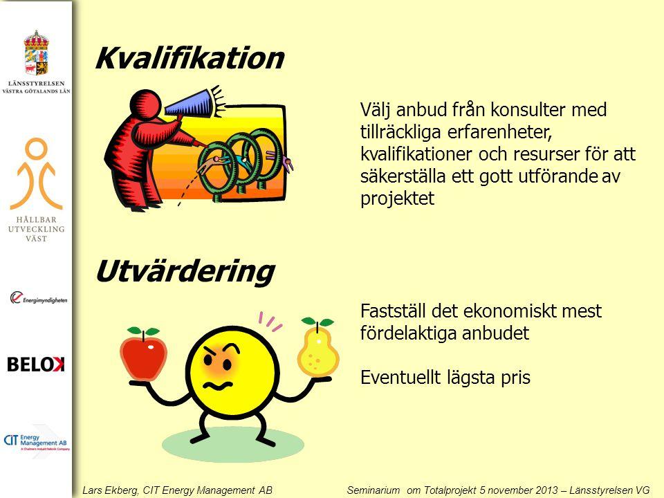 Lars Ekberg, CIT Energy Management AB Seminarium om Totalprojekt 5 november 2013 – Länsstyrelsen VG Kvalifikation Utvärdering Välj anbud från konsulter med tillräckliga erfarenheter, kvalifikationer och resurser för att säkerställa ett gott utförande av projektet Fastställ det ekonomiskt mest fördelaktiga anbudet Eventuellt lägsta pris