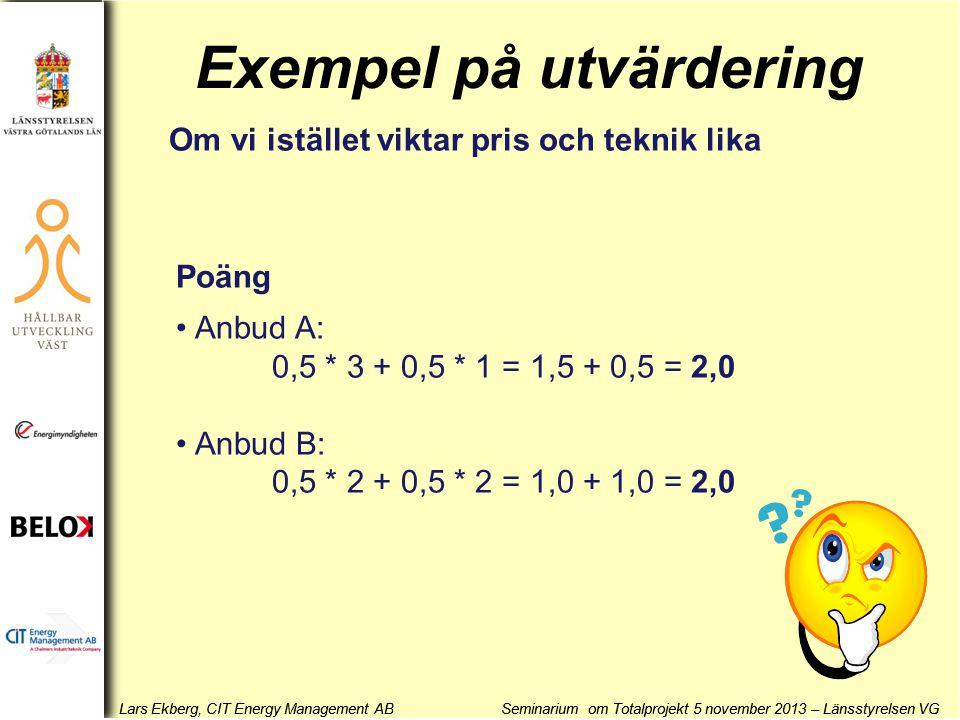 Lars Ekberg, CIT Energy Management AB Seminarium om Totalprojekt 5 november 2013 – Länsstyrelsen VG Exempel på utvärdering Om vi istället viktar pris