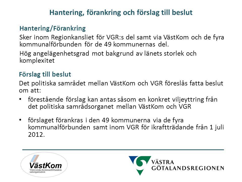 Hantering, förankring och förslag till beslut Hantering/Förankring Sker inom Regionkansliet för VGR:s del samt via VästKom och de fyra kommunalförbund