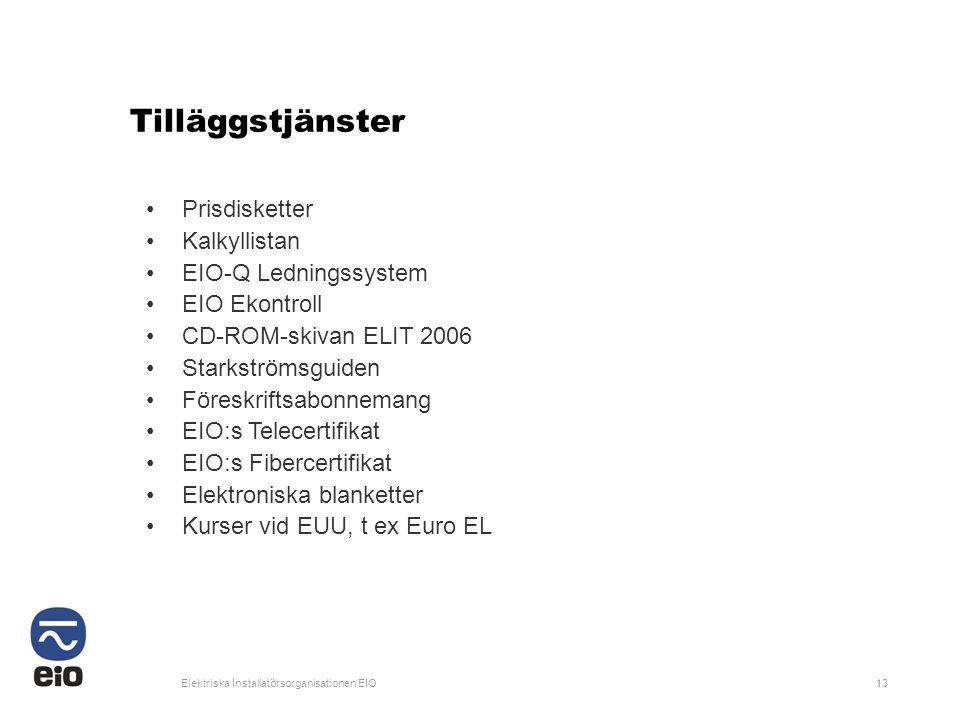 Elektriska Installatörsorganisationen EIO13 Tilläggstjänster •Prisdisketter •Kalkyllistan •EIO-Q Ledningssystem •EIO Ekontroll •CD-ROM-skivan ELIT 200
