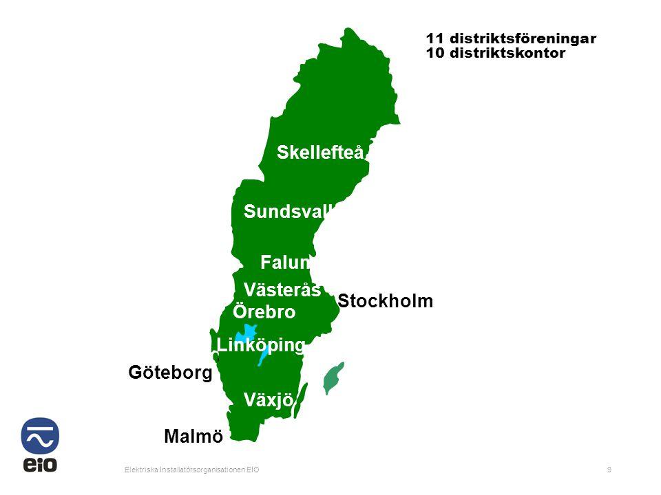 Elektriska Installatörsorganisationen EIO9 11 distriktsföreningar 10 distriktskontor Skellefteå Sundsvall Falun Västerås Örebro Stockholm Linköping Gö