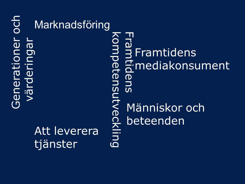 Framtidens kompetensutveckling Framtidens mediakonsument Generationer och värderingar Att leverera tjänster Marknadsföring Människor och beteenden