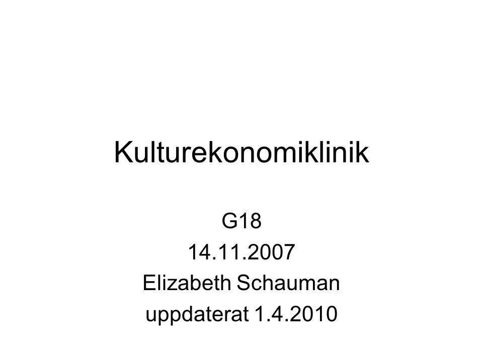 Kulturekonomiklinik G18 14.11.2007 Elizabeth Schauman uppdaterat 1.4.2010