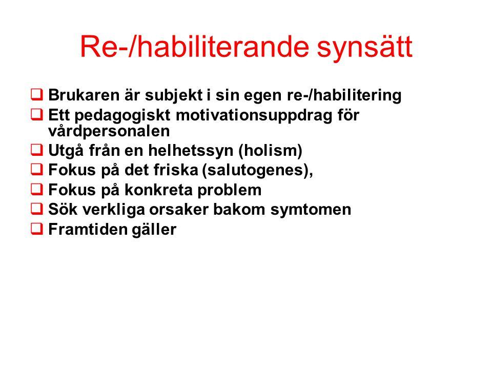 Re-/habiliterande synsätt  Brukaren är subjekt i sin egen re-/habilitering  Ett pedagogiskt motivationsuppdrag för vårdpersonalen  Utgå från en helhetssyn (holism)  Fokus på det friska (salutogenes),  Fokus på konkreta problem  Sök verkliga orsaker bakom symtomen  Framtiden gäller