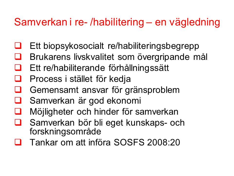 Samverkan i re- /habilitering – en vägledning  Ett biopsykosocialt re/habiliteringsbegrepp  Brukarens livskvalitet som övergripande mål  Ett re/habiliterande förhållningssätt  Process i stället för kedja  Gemensamt ansvar för gränsproblem  Samverkan är god ekonomi  Möjligheter och hinder för samverkan  Samverkan bör bli eget kunskaps- och forskningsområde  Tankar om att införa SOSFS 2008:20
