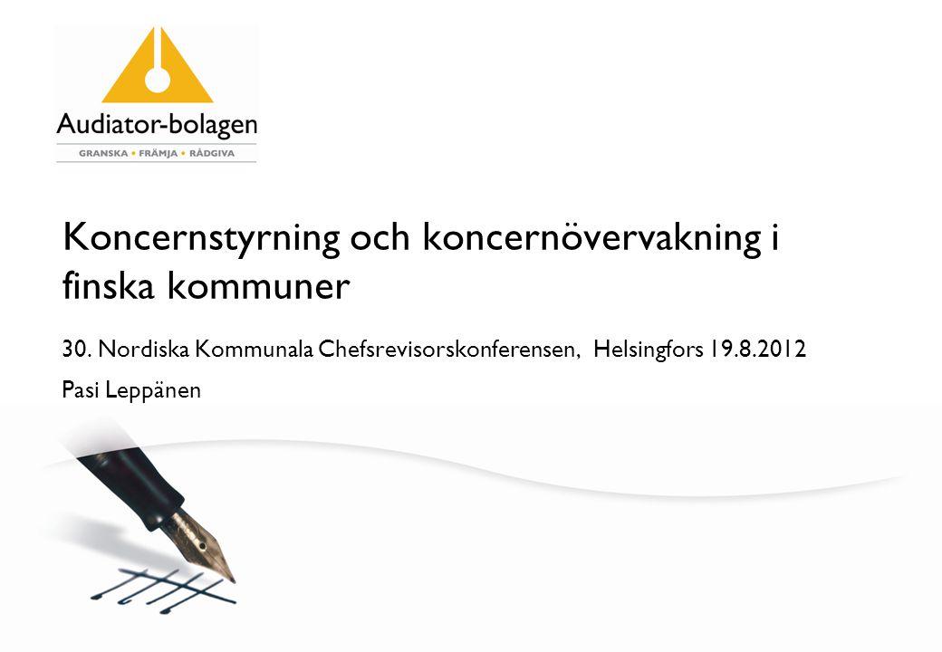 Koncernstyrning och koncernövervakning i finska kommuner 30.