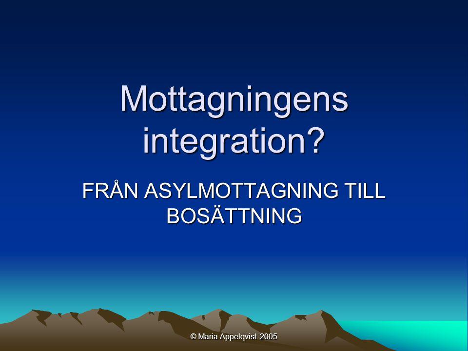 © Maria Appelqvist 2005 Mottagningens integration FRÅN ASYLMOTTAGNING TILL BOSÄTTNING