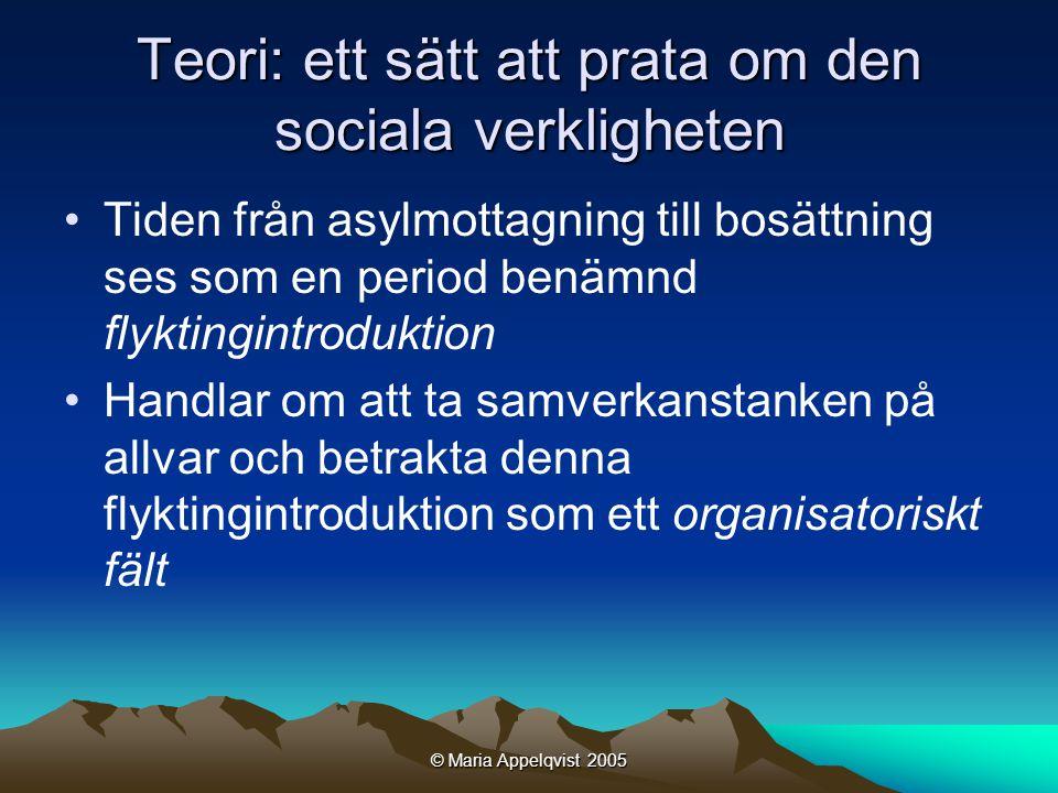 © Maria Appelqvist 2005 Teori: ett sätt att prata om den sociala verkligheten •Tiden från asylmottagning till bosättning ses som en period benämnd flyktingintroduktion •Handlar om att ta samverkanstanken på allvar och betrakta denna flyktingintroduktion som ett organisatoriskt fält