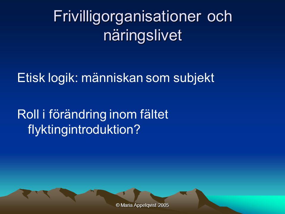 © Maria Appelqvist 2005 Frivilligorganisationer och näringslivet Etisk logik: människan som subjekt Roll i förändring inom fältet flyktingintroduktion