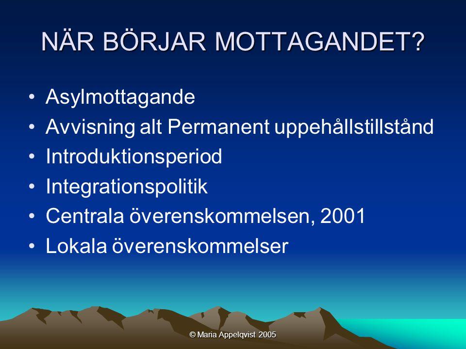 © Maria Appelqvist 2005 Asyltiden skall vara förberedande för de som befinner sig i normalprocessen [D]e kunskaper och erfarenheter de asylsökande får, måste vara möjliga att bygga vidare på för dem som får tillstånd att stanna.