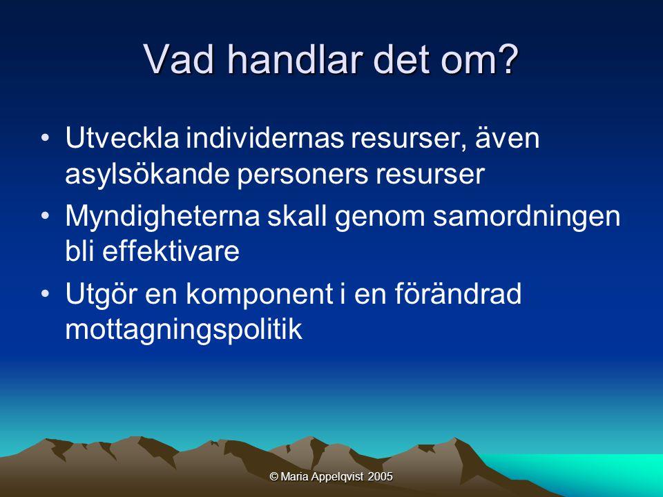 © Maria Appelqvist 2005 Arbetsförmedlingen Den mentala biten hos Migrationsverket varierar på olika platser, vilket lägger förutsättningarna för hur de lokala arbetsförmedlarna kan jobba.