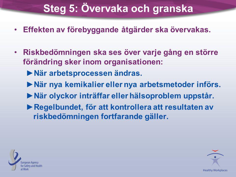 Steg 5: Övervaka och granska •Effekten av förebyggande åtgärder ska övervakas. •Riskbedömningen ska ses över varje gång en större förändring sker inom