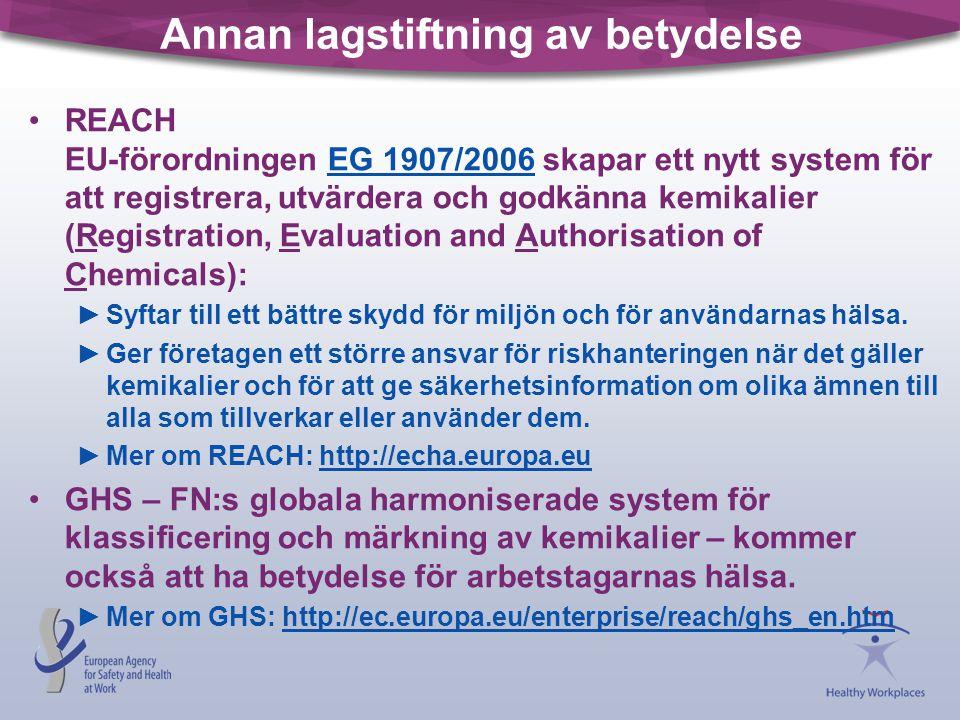 Annan lagstiftning av betydelse •REACH EU-förordningen EG 1907/2006 skapar ett nytt system för att registrera, utvärdera och godkänna kemikalier (Regi