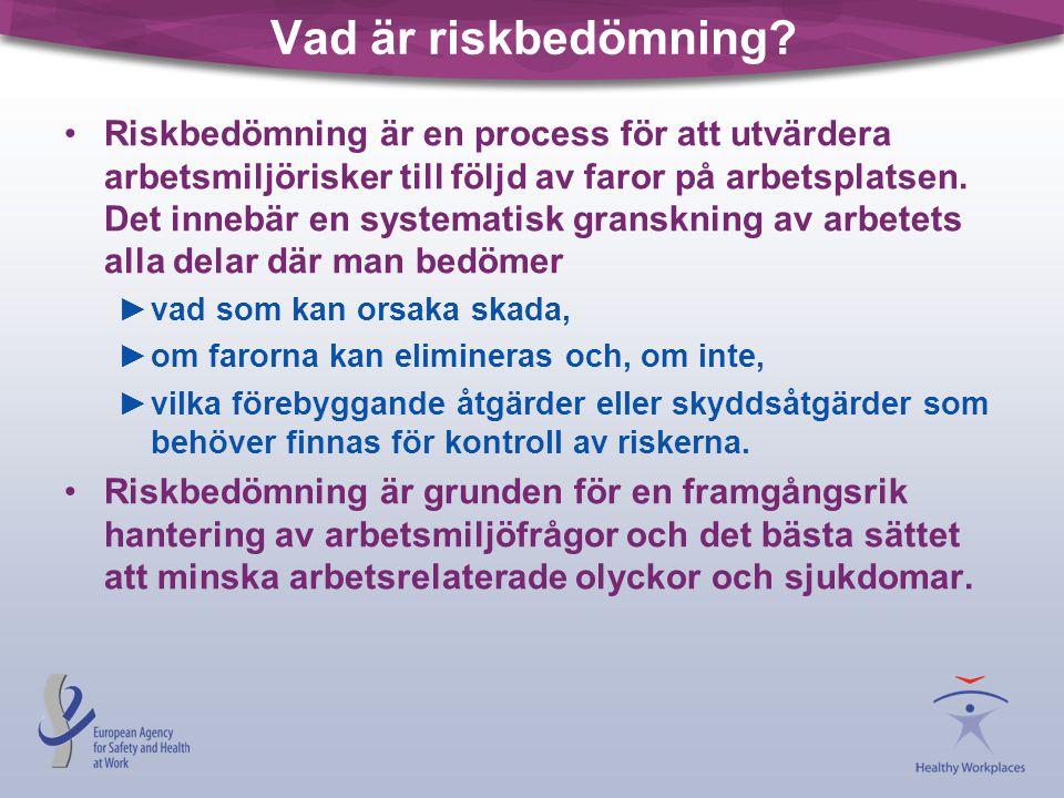 Vad är riskbedömning? •Riskbedömning är en process för att utvärdera arbetsmiljörisker till följd av faror på arbetsplatsen. Det innebär en systematis