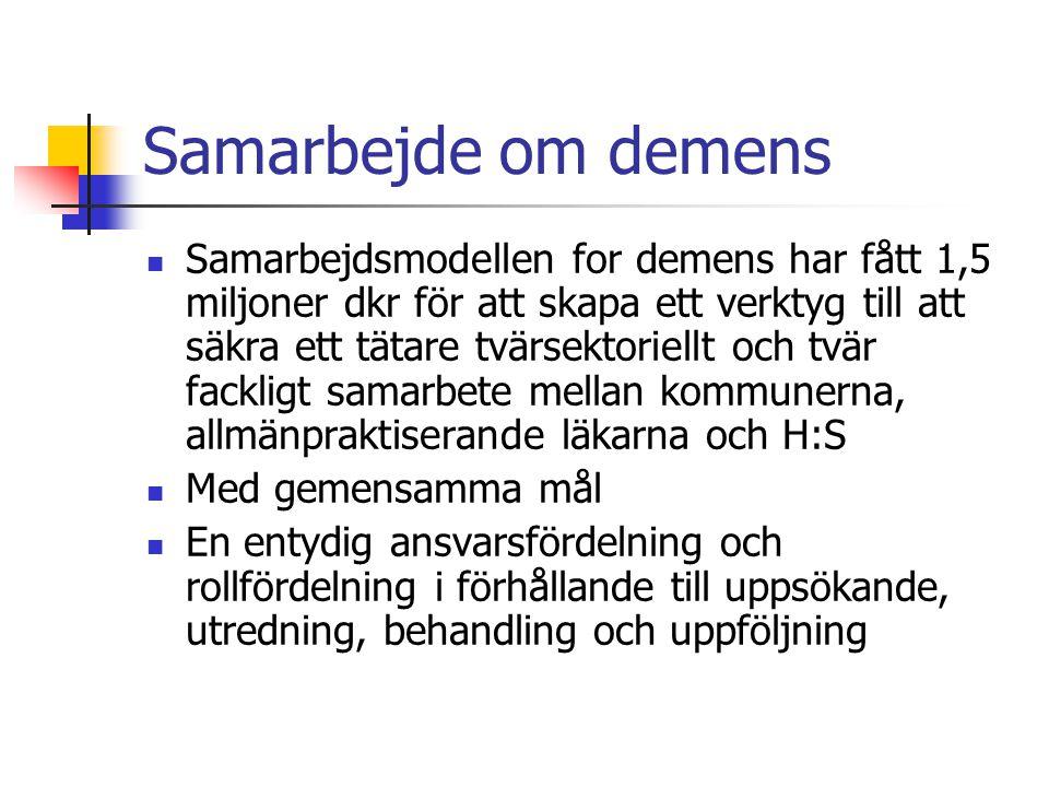 Målsättningar för insatser på demensområdet i Köpenhamn och Fredriksbergs kommuner samt H:S  Organisation och samarbete: Alla medborgare med demenssymtom och deras anhöriga skall ha ett koordinerat och sammanhängande patientförlopp på tvärs av primär och sekundär sektor  Uppsökande: Medborgare med demens skall upptäckas tidigare.