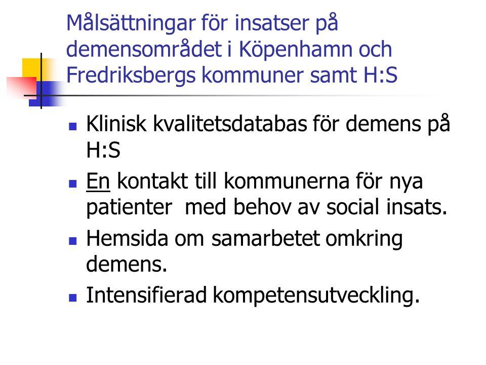 Målsättningar för insatser på demensområdet i Köpenhamn och Fredriksbergs kommuner samt H:S  Klinisk kvalitetsdatabas för demens på H:S  En kontakt