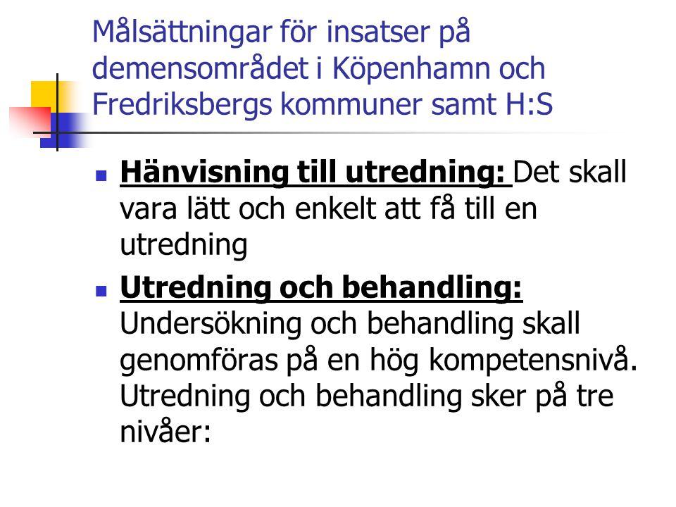 Målsättningar för insatser på demensområdet i Köpenhamn och Fredriksbergs kommuner samt H:S  Hänvisning till utredning: Det skall vara lätt och enkel