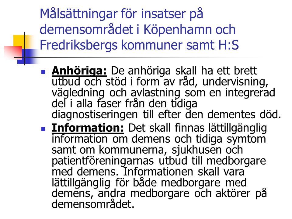 Målsättningar för insatser på demensområdet i Köpenhamn och Fredriksbergs kommuner samt H:S  Kompetensutveckling: Alla samarbetspartner i primärvård och kommuner skall besitta tillräckliga kunskaper för att tillvarata de uppdrag och roller som ingår i samarbetsmodellen.