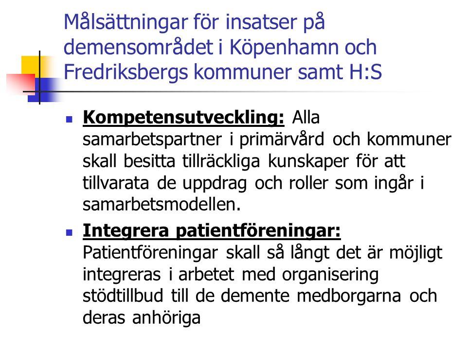 Målsättningar för insatser på demensområdet i Köpenhamn och Fredriksbergs kommuner samt H:S  Mätning och kvalitetssäkring av insatser: Det skall insamlas kunskap och dokumentation av insatsernas effekter, det skall löpande utvärderas för att kunna justera modellen för det optimala patientflödet för medborgare med demenssjukdom.