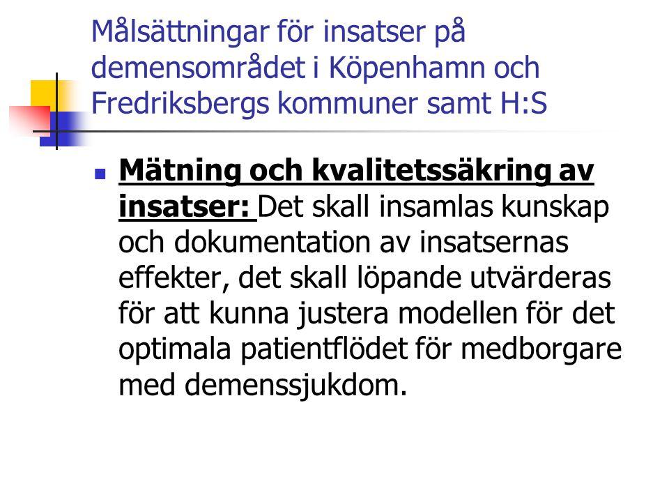 Målsättningar för insatser på demensområdet i Köpenhamn och Fredriksbergs kommuner samt H:S  Mätning och kvalitetssäkring av insatser: Det skall insa